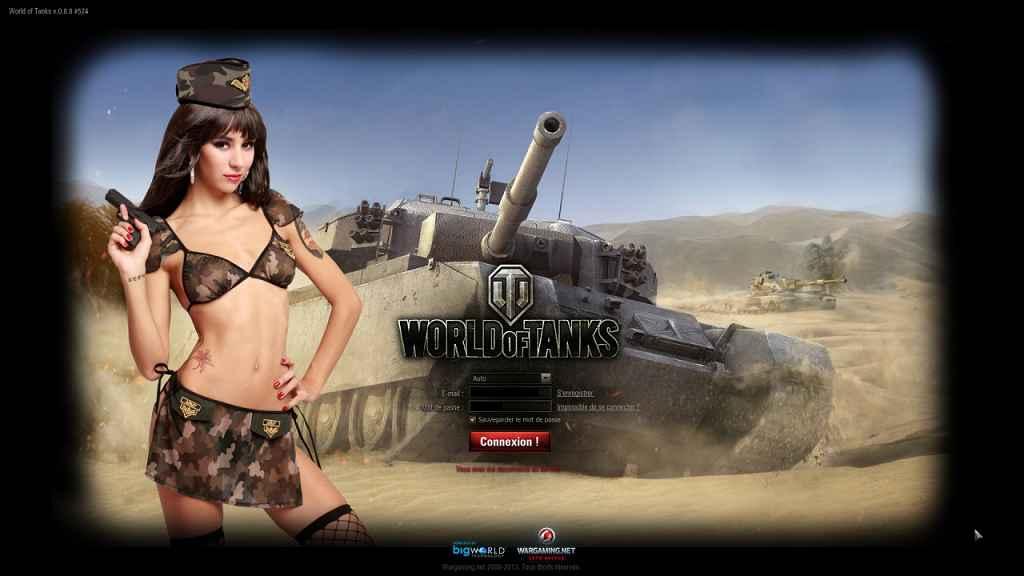 Мод World Of Tanks — Экран авторизации в девушками