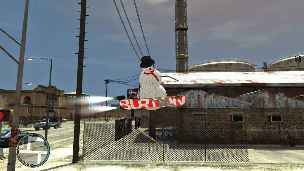 GTA 4 — Снеговик на сноуборде