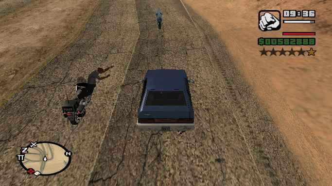 Модификация GTA San Andreas — Перепрыгни с мотоцикла на машину!