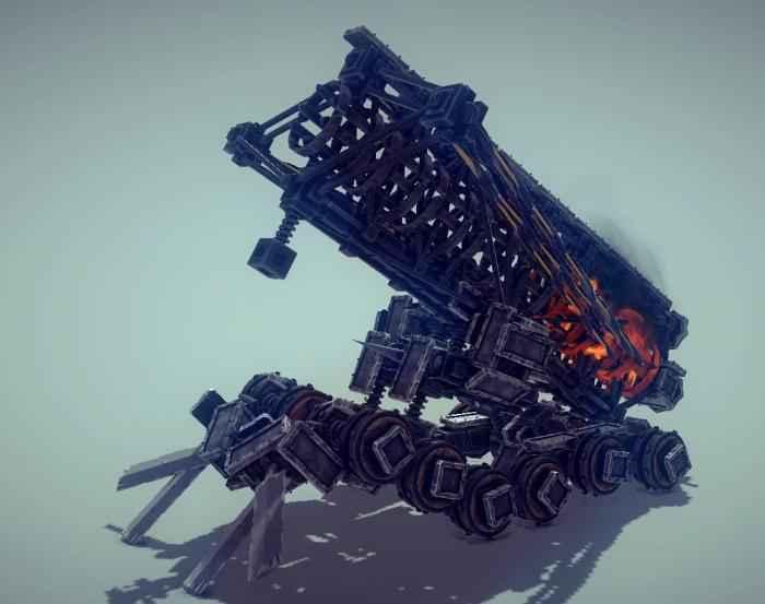 Мод Besiege — Дальнобойный танк с огненными шарами