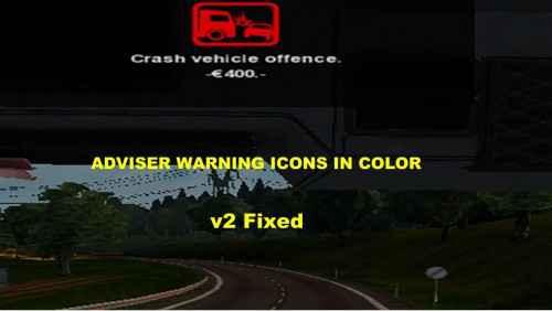 Мод ETS 2 — Цветные иконки в Route Adviser (Adviser Warning Icons In Color)