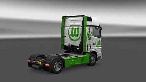 Мод ETS 2 — «Футбольный» скин для Mercedes (Mercedes MP4 VFL Wolfsburg Skin)