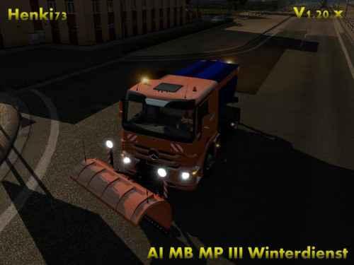Мод ETS 2 — Снегоуборщик в трафик (Henki AI snow clearing service)