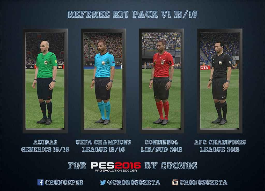 Модификация PES 2016 — Новый формы для судей (Referee Kit Pack v1 15/16 for PES 2016)