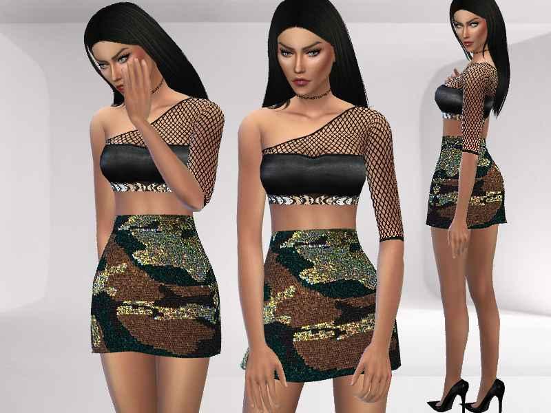 Мод Sims 4 — Камуфляжная одежда (Camouflage Dress)