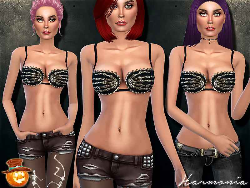 Мод Sims 4 — Gold Hand of the Devil Spikes Bra