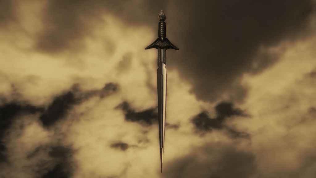 Мод Skyrim — Золотой эбонитовый меч