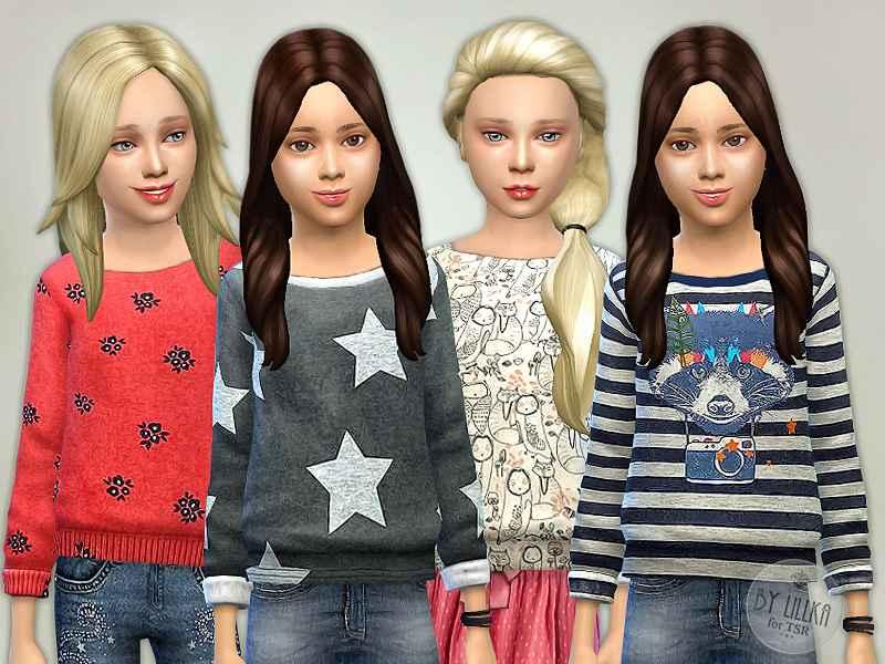 Мод Sims 4 — Свитеры для девочек (Printed Sweatshirt for Girls)