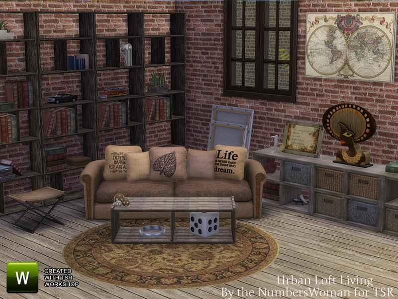 Мод Sims 4 — Жилая комната в стиле Лофт (Urban Loft Living Room)