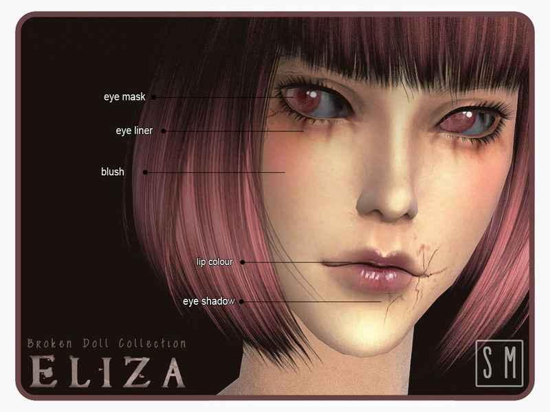 Мод Sims 4 — Макияж «Разбитая кукла» (Broken Doll Makeup Collection)