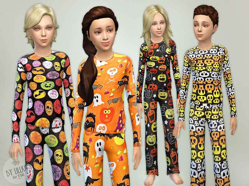Мод Sims 4 — Детские пижамы на Хэллоуин (Halloween Pajama — Set)