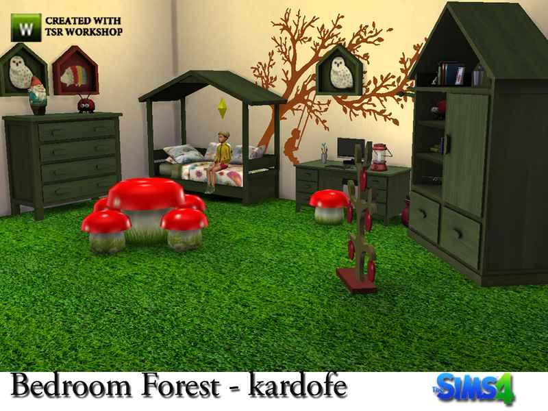 Мод Sims 4 — Лесной дизайн детской комнаты (Bedroom Forest)