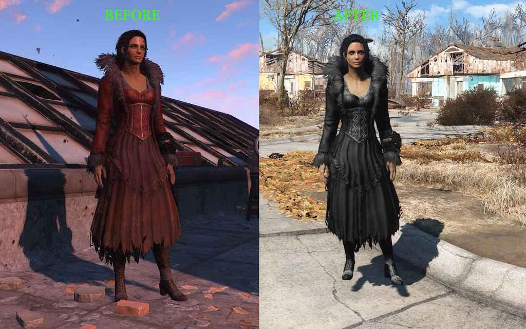 Мод Fallout 4 — Черное платье с перьями (Black Feathered Dress)
