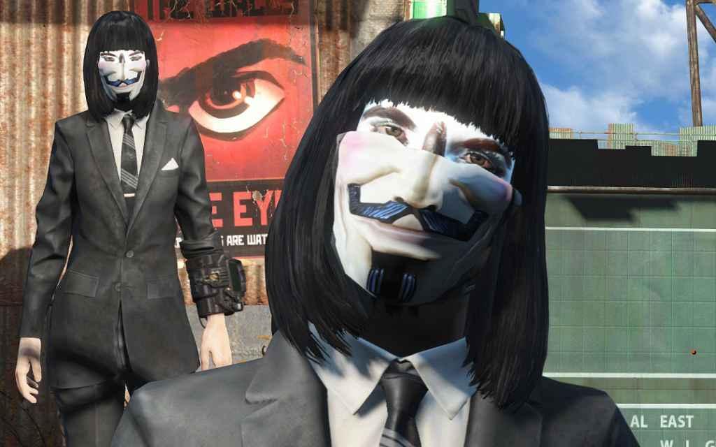 Мод Fallout 4 — Маска Анонимуса (Fallen Empire (Anonymous — Guy Fawkes Mask))