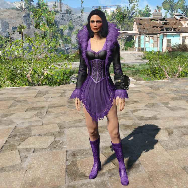 Мод Fallout 4 — Ретекстур наряда Feather Dress (Feather Dress Mini — Purple)