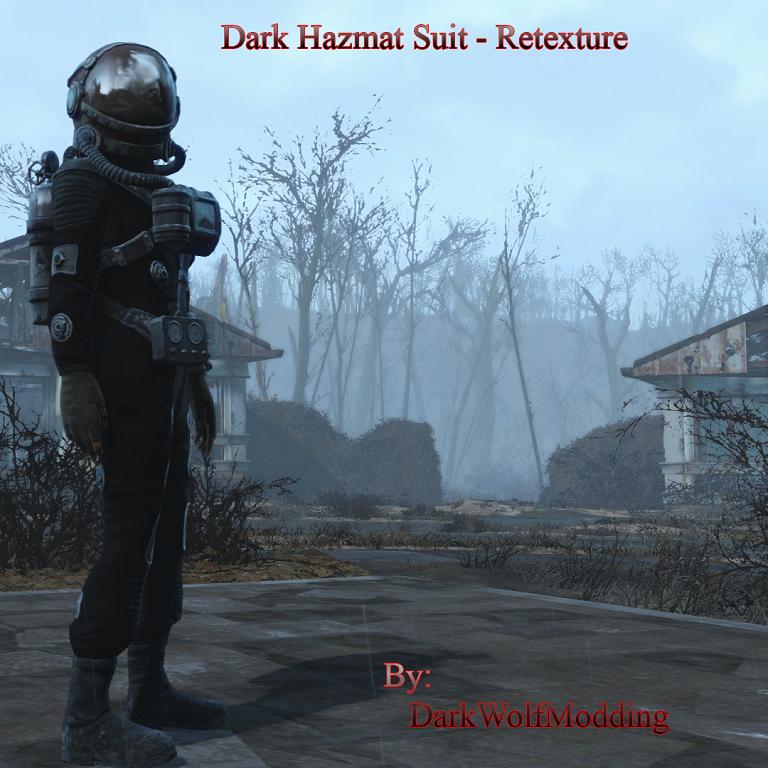 Мод Fallout 4 — Темный защитный костюм (Grey and Black Hazmat Suit)