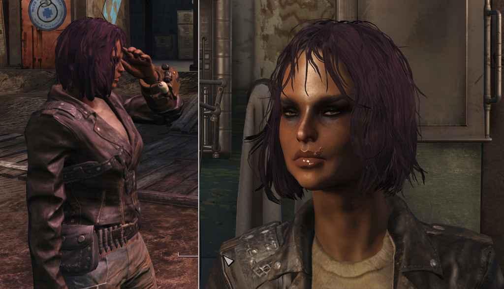 Мод Fallout 4 — Фиолетовый цвет волос (Dyed Hair Purple with Dark Eyebrows)