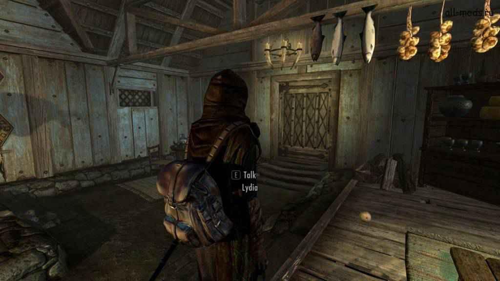 Мод Skyrim — кожаный рюкзак