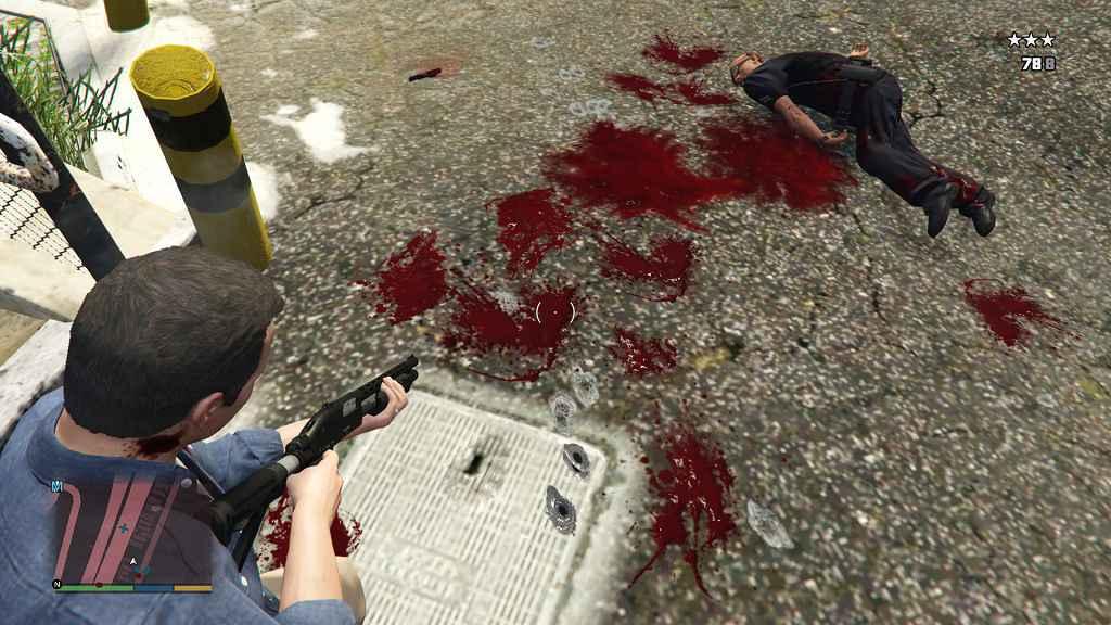 Мод GTA 5 — Стиль крови из Max Payne 3