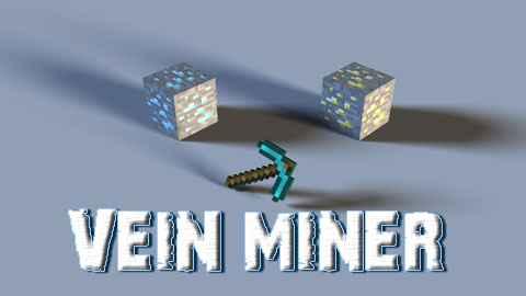 Мод Minecraft — Vein Miner / Разрушение цепочки блоков (SSP / SMP) 1.8.9/1.7.10