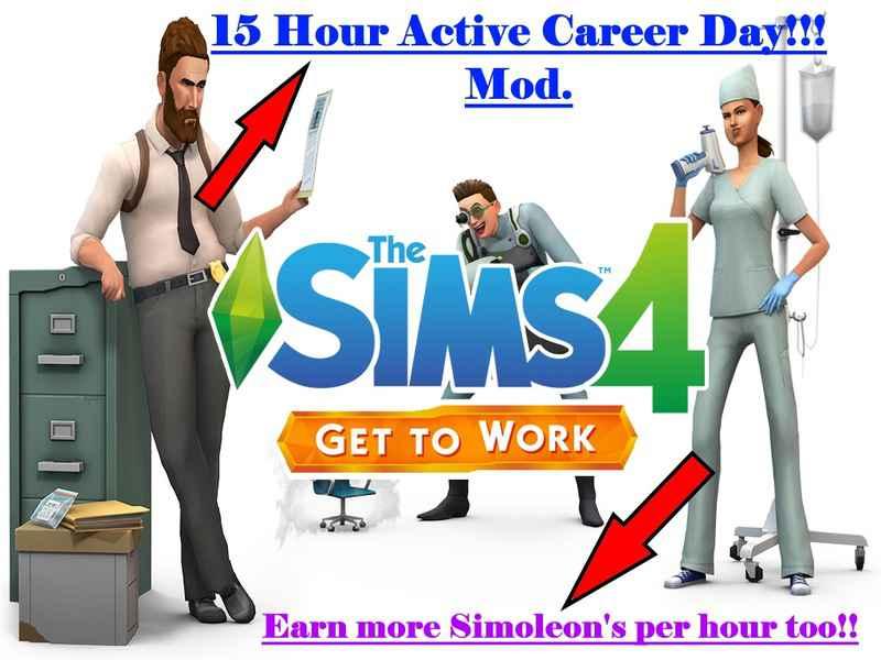 Мод Sims 4 — 15-часовой рабочий день