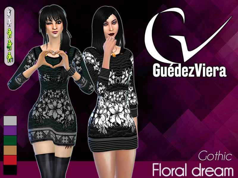 Мод Sims 4 — Стильное цветочное мини-платье