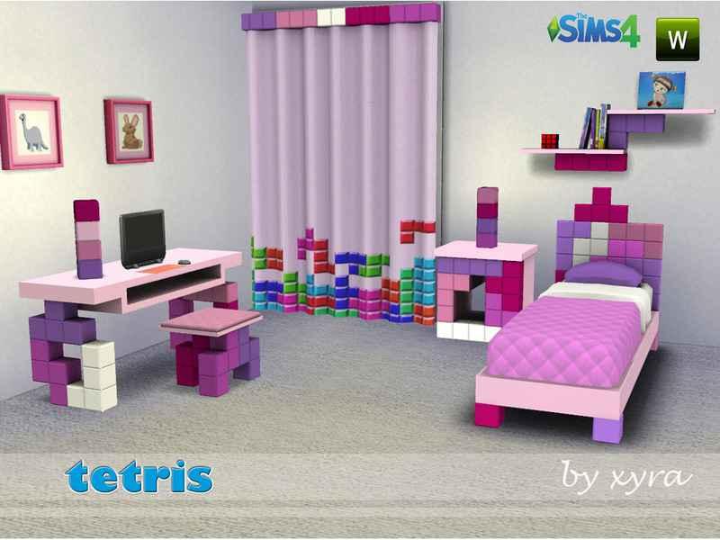 Мод Sims 4 — Детская комната в стиле тетриса