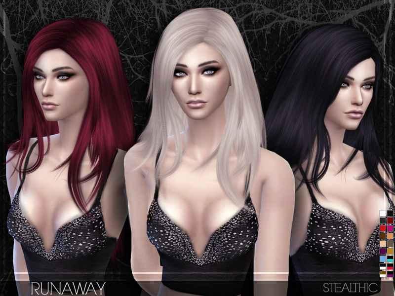 Мод Sims 4 — Женская прическа до плеч Stealthic — Runaway