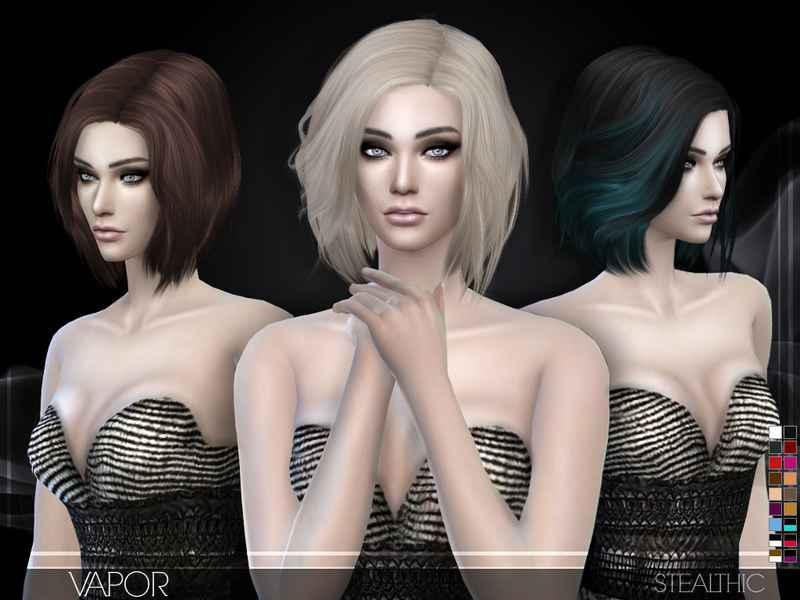 Мод Sims 4 — Прическа средней длины Stealthic — Vapor