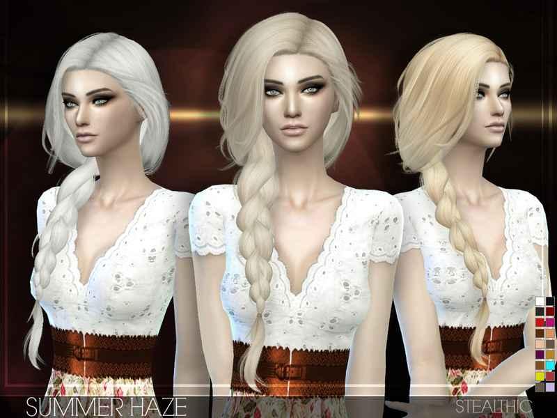Мод Sims 4 — Женская прическа с длинной косой Stealthic — Summer Haze
