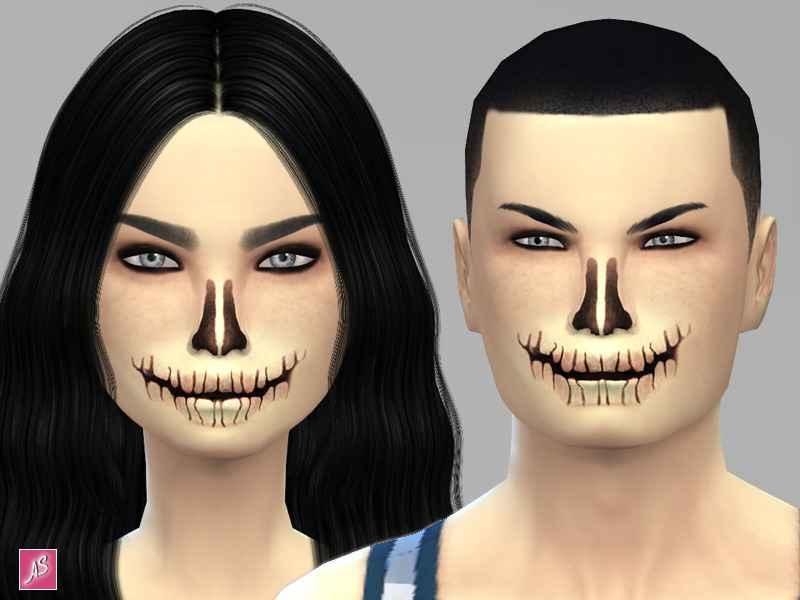 Модификация Sims 4 — Реалистичная маска скелета Halloween Skeleton Face Mask
