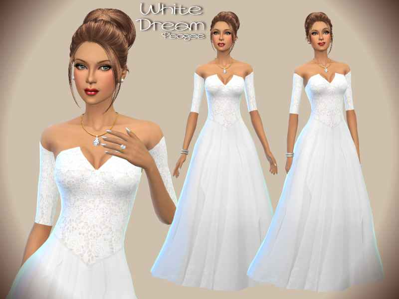 Мод Sims 4 — Платье «Белый сон»