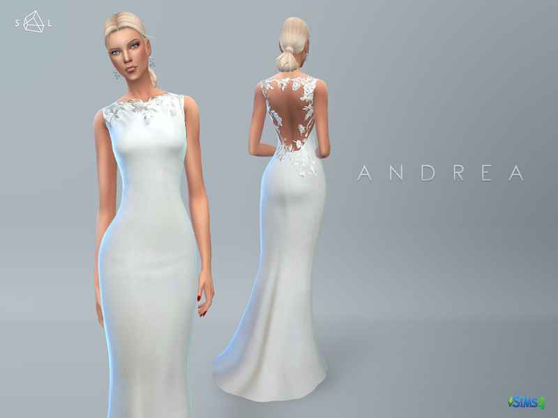 Модификация Sims 4 — Свадебное платье Wedding Dress ANDREA