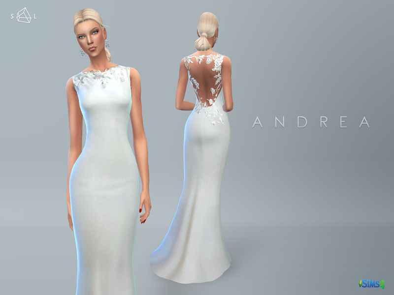 Sims 4 — Свадебное платье Wedding Dress ANDREA