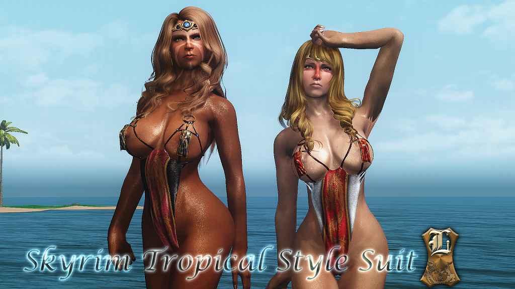 Мод Skyrim — Тропические наряды для тел UNPB